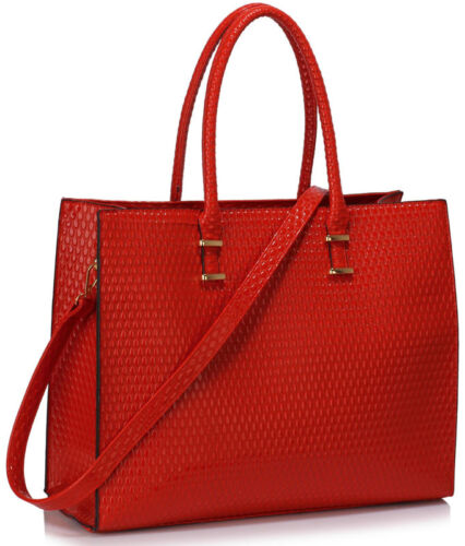 LARGE WOMEN/'S CELEB FAUX LEATHER TOTE BAGS OVER SIZED SHOPPER COLLEGE  HANDBAGS