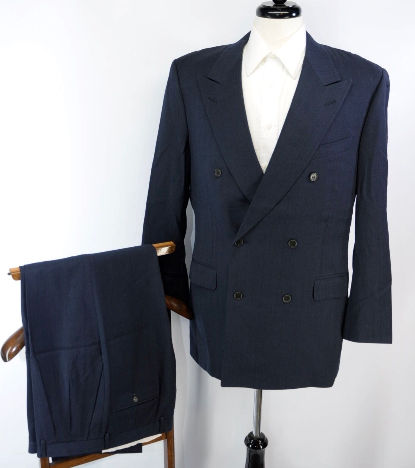 CANALI Super 120s Wool Navy bluee Double Breasted Peak Lapel Suit 50L L US