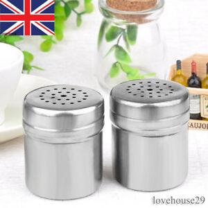 UK Spice Salt Pepper Shaker Jar Rotate Cruet Storage Bottle Stainless Steel PL