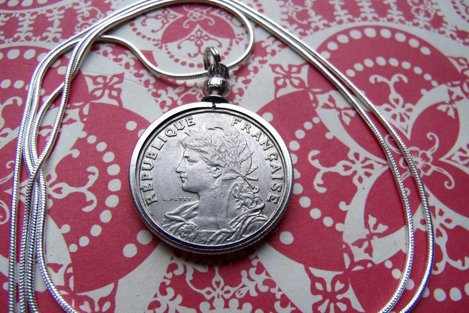 """France 1903 Lady Liberty French Centimes Coin on a 30/"""" 925 Silver Snake Chain"""