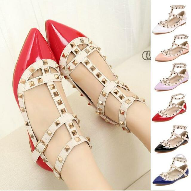 New Women Pyramid Studded Ankle T-Strap Sandal Ballet Low Flat Pointy Toe Shoes