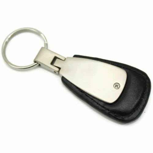 Ford Mustang Key Ring Black Leather Teardrop Keychain