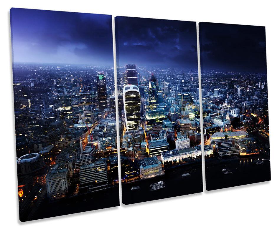 London Stadt Skyline Blau CANVAS Wand Kunst TRIPLE Box Frame Drucken