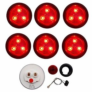 """6 PACK of RED/RED LED 2"""" ROUND MARKER/CLEARANCE LIGHTS TRAILER RV FREE SHIP"""