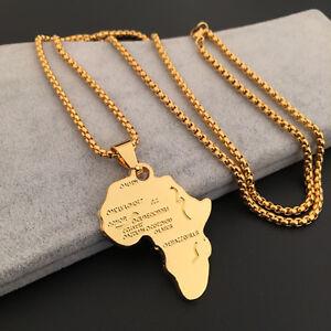 LUXUS-Afrika-Anhaenger-Inkl-Halskette-Gold-Farbe-Landkarte-Anhaenger-Z5M9