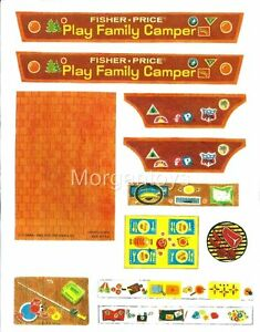 Fisher-Price-Little-People-CAMPER-994-REPLACEMENT-STICKERS-LITHOS-PEEL-amp-STICK