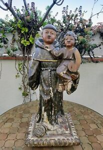 Saint-Antoine-en-bois-sculpte-17eme-siecle-60-cm