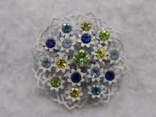 Very Old Flower Brooch With Open Metal Work And Multi Colored Rhinestones