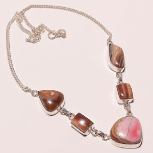 Rare-Genuine-Rhodochrosite-Silver-Plated-Handmade-Necklace-17-18-034-n-15