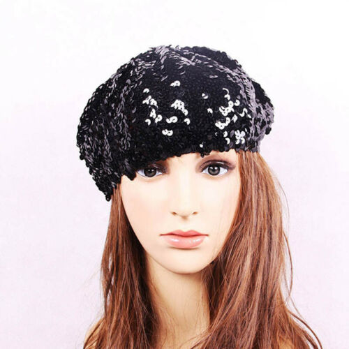 Women Mermaid Sequin Knitted Beret Hats Changing Glitter Hat Multi-color N7