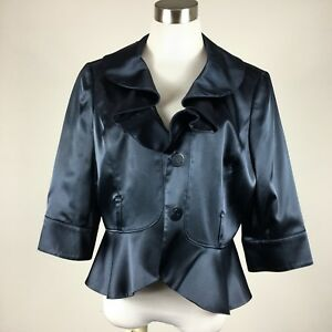 Nine-West-womens-blazer-size-12-navy-ruffle-front-3-4-sleeves-2-button