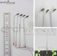 2 x LED moderne Kupfer Straßenlampe silber 7,5cm Modellbau 1:100/1:87 Spur TT/H0