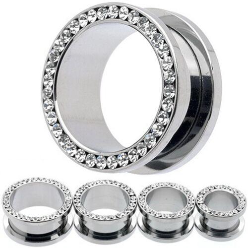 1 Paire Strass Piercing Bijoux Bouchons d/'oreille 4-14 mm Acier Inoxydable Cristal Vis