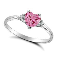 .925 Sterling Silver Ring size 3 CZ Heart cut Pink Midi Kids Ladies New x26