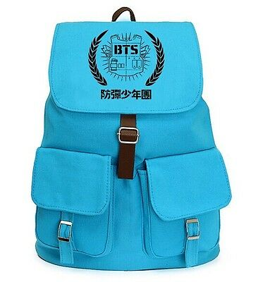 Kpop New BTS Bangtan Boys Blue Canvas Backpack Student Shoulder Book BAG