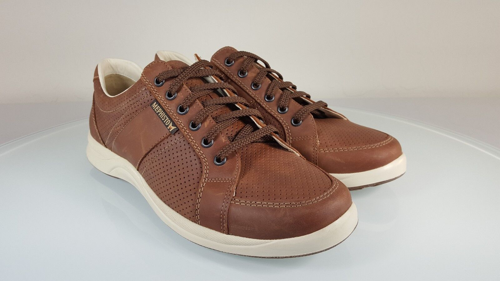 MEPHISTO 'HERO' MENS BROWN PERFORATED LEATHER SNEAKERS US 8 M