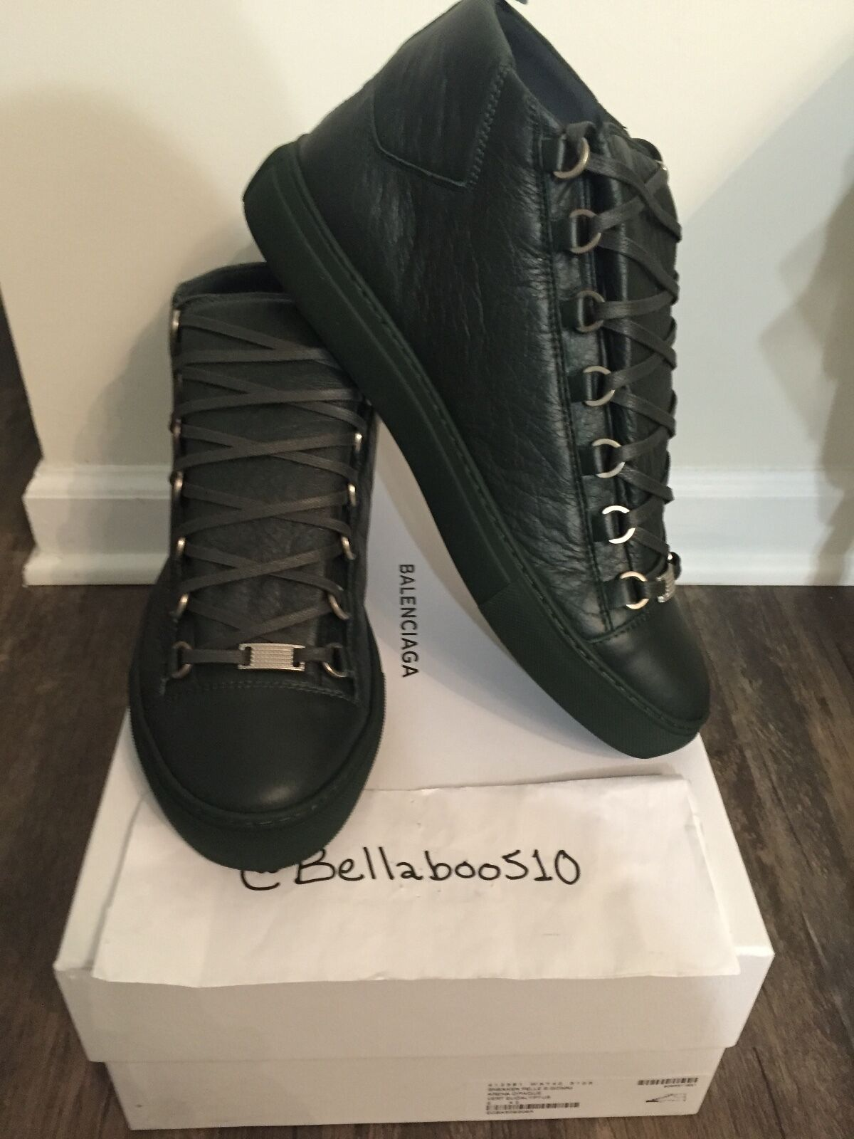 Scarpe casual da uomo  Balenciaga Arena Hightop Sneaker in Dark Green size 42