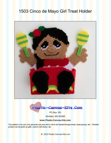 Cinco de Mayo Girl Treat Holder-Plastic Canvas Pattern or Kit