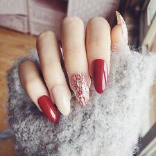 24Pcs Wine Red Cross False Nails with Nail Glue Long Stiletto Almond Nail Art