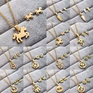 Fashion-Women-Stainless-Steel-Jewelry-Set-Gold-Pendant-Chain-Necklace-Earrings
