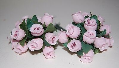 Mini Silk Rose Buds On Wires 2 Bundles of 12 Individual Roses = 24pc PINK