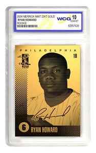 2004-RYAN-HOWARD-Philadelphia-Phillies-23K-GOLD-ROOKIE-CARD-GRADED-GEM-MINT-10