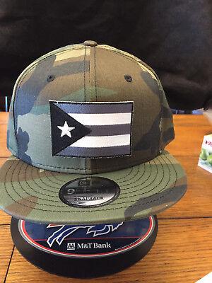 New Era NE400 Camo Snapback Flat Bill Cap w// Puerto Rico Rican Flag
