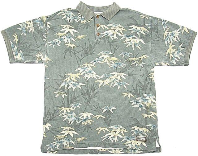 Tommy Bahama original Mens Polo Shirt Olive Floral Print 100% cotton Medium GUC