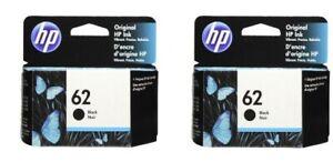 HP #62 Black Ink Cartridge 2 pack NEW GENUINE