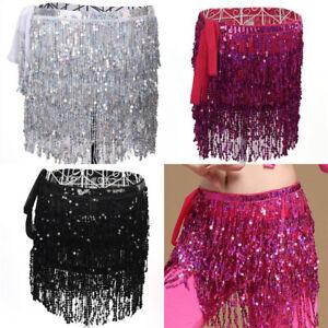 Belly-Dance-Costume-Sequin-Tassel-Fringe-Hip-Scarf-Belt-Waist-Wrap-Skirt-GT