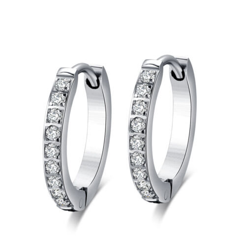 Quality Slim TT 2mm S.Steel Inlaid Sparkling CZ Hoop Earring Outer10-20mm EH141
