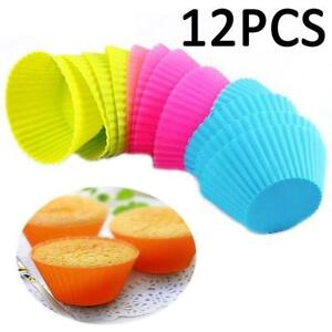 12pcs-Silicone-Cake-Muffin-Chocolate-Cupcake-Liner-Baking-Cup-Cookie-Mold-NEW-BG