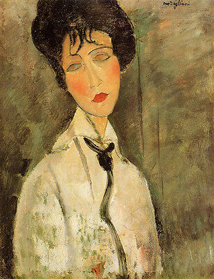 Portrait of a Woman in a...   by Amedeo Modigliani   Giclee Canvas Print Repro