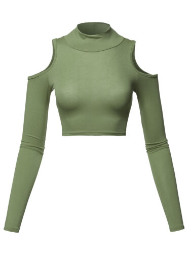 FashionOutfit Women/'s Junior Size Cold Shoulder Long Sleeves Turtleneck Crop Top