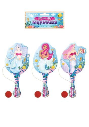 WOODEN MERMAID PADDLE BAT AND BALL CHILDREN/'S PARTY BAG FILLERS TOYS GIRLS PARTY