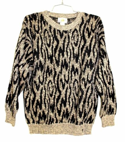 VTG Ettiene AIGNER Mens WOOL? Knit Crewneck Sweater Black Taupe Intarsia L