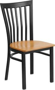 HERCULES SERIES BLACK SCHOOL HOUSE BACK METAL RESTAURANT CHAIR-NATURAL WOOD SEAT
