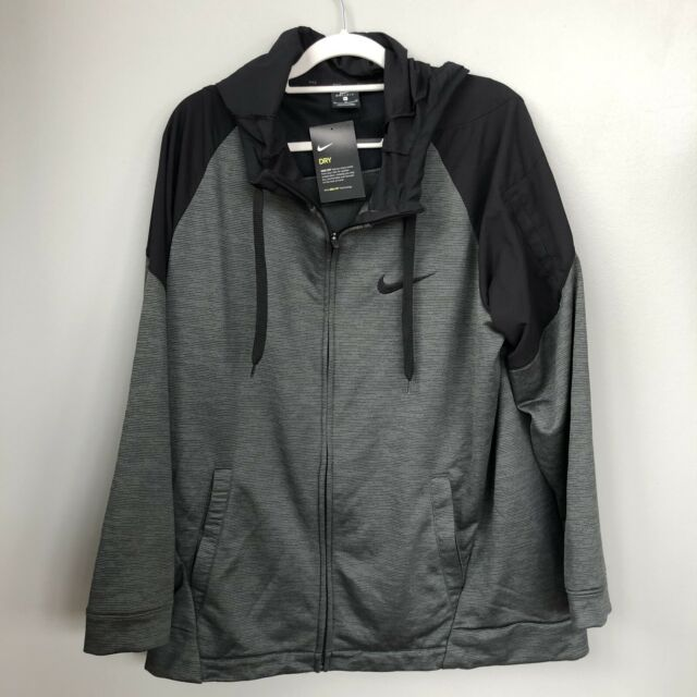 Men's Nike Dri-Fit Full Zip-up Gray Black Light Weight Hoodie XL NWT MSRP $75