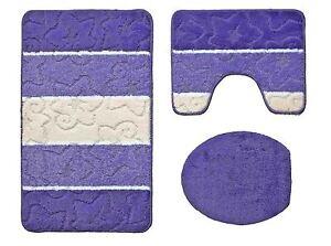 badgarnitur 3 teilig badvorleger duschvorleger wc bezug f stand wc in lila ebay. Black Bedroom Furniture Sets. Home Design Ideas