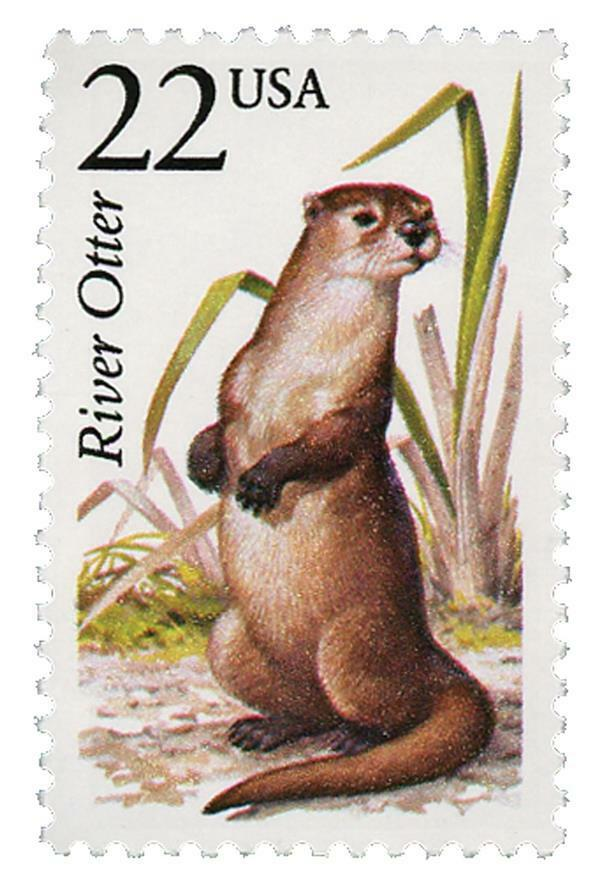 1987 22c River Otter, North American Wildlife Scott 231