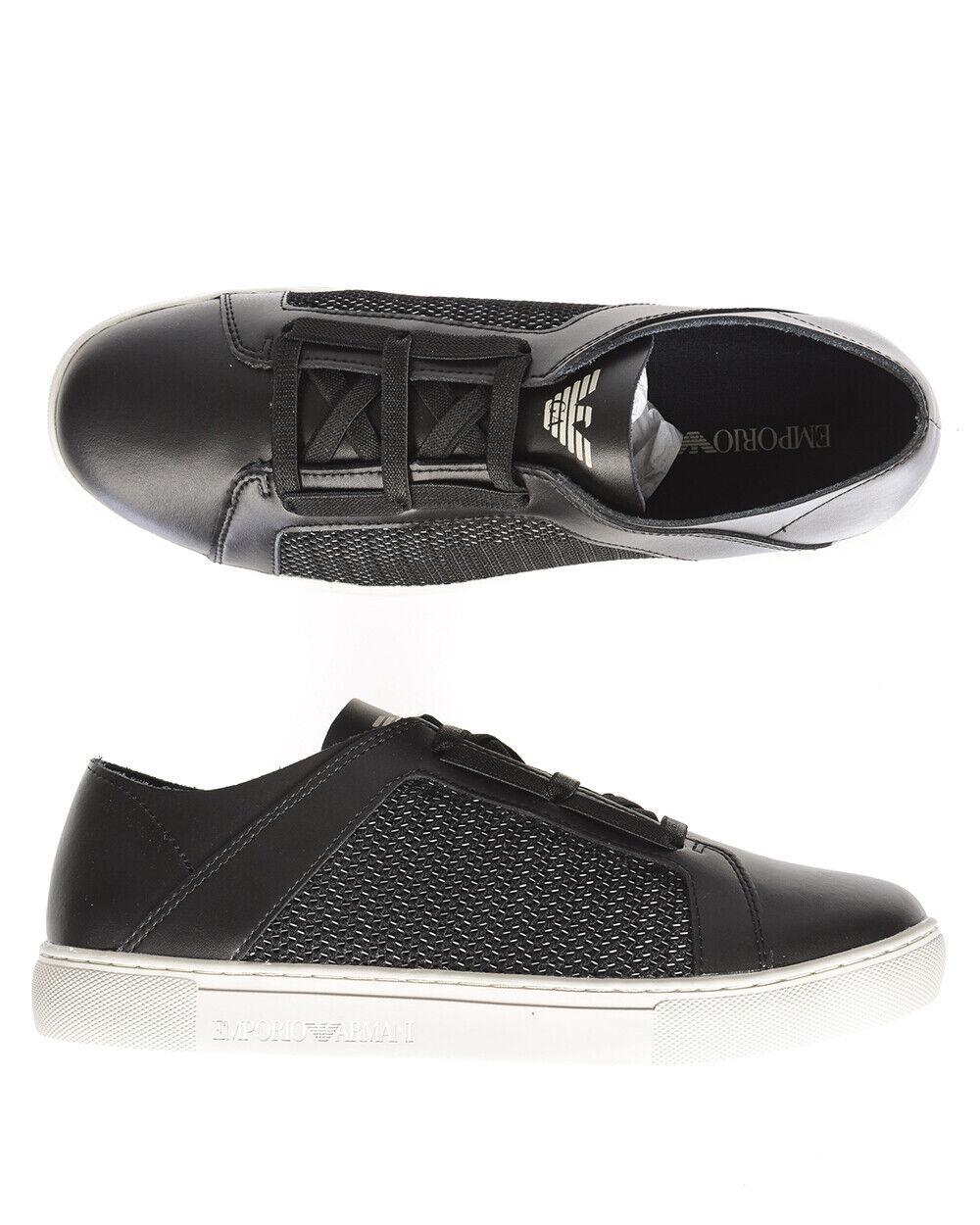 Emporio Armani scarpe scarpe da ginnastica Leather Man nero X4C472XL205 A013 Sz.43 MAKE OFFER