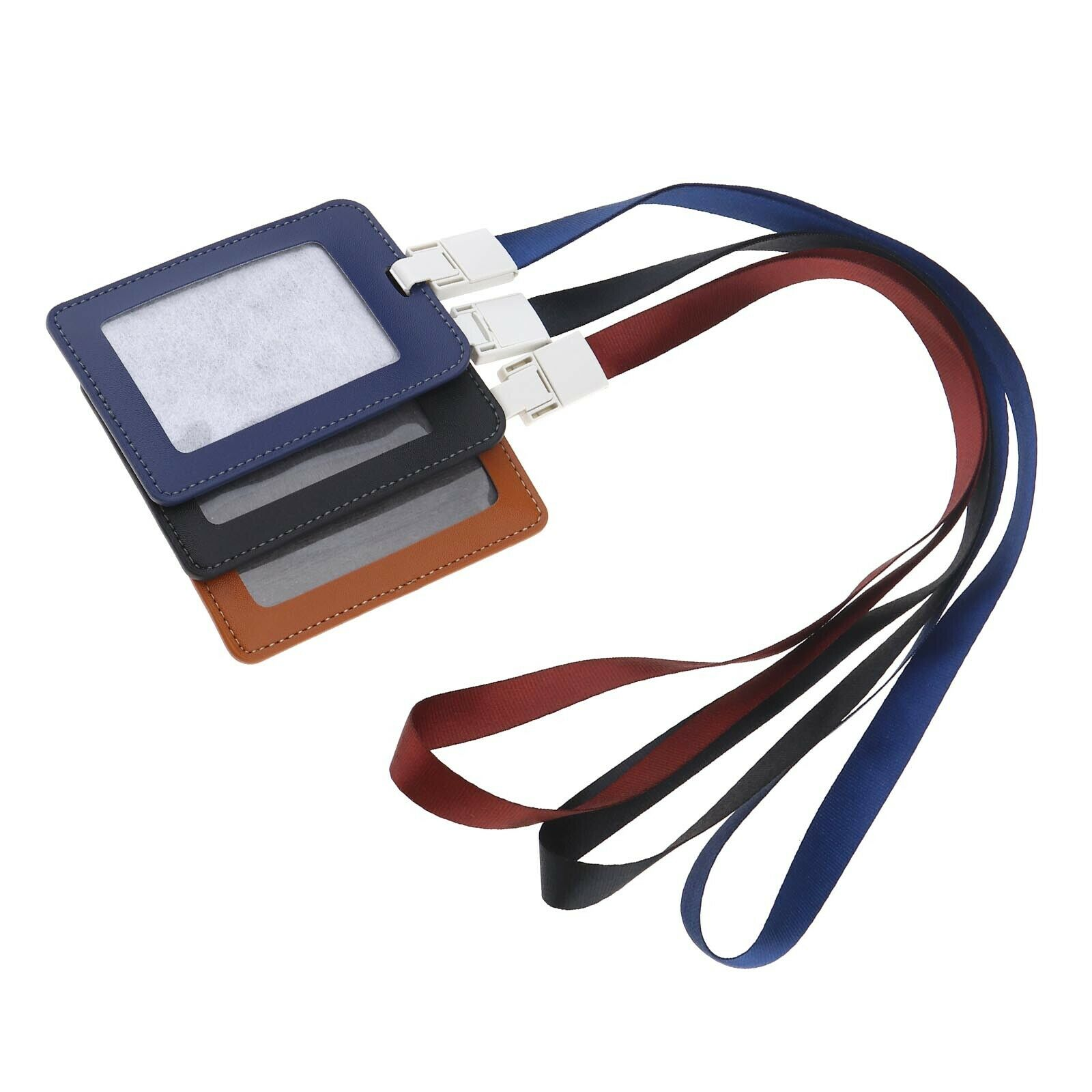 3x Heavy Duty Work Permit Card Cover Multicolour Card Holders with Lanyard
