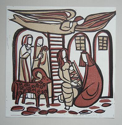 """Original-Linolschnitt von Ursula Dethleffs - """"Krippe"""" (signiert) ca. ~1950-1960"""