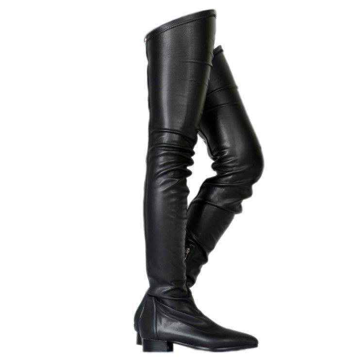 Moda Para Mujeres Puntera Puntiaguda botas plana sobre la rodilla botas Puntiaguda Zapatos De Cremallera Punk Gótico cff78d