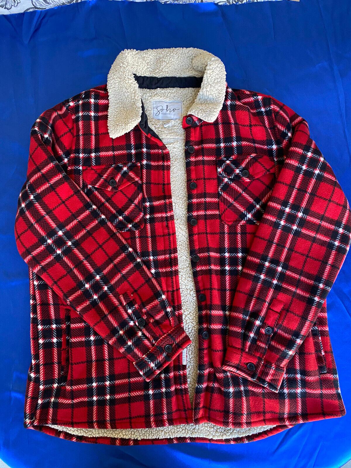 Soho Threads Ladies' Sherpa Lined Plaid Plush Shirt Comfy Cozy Jacket