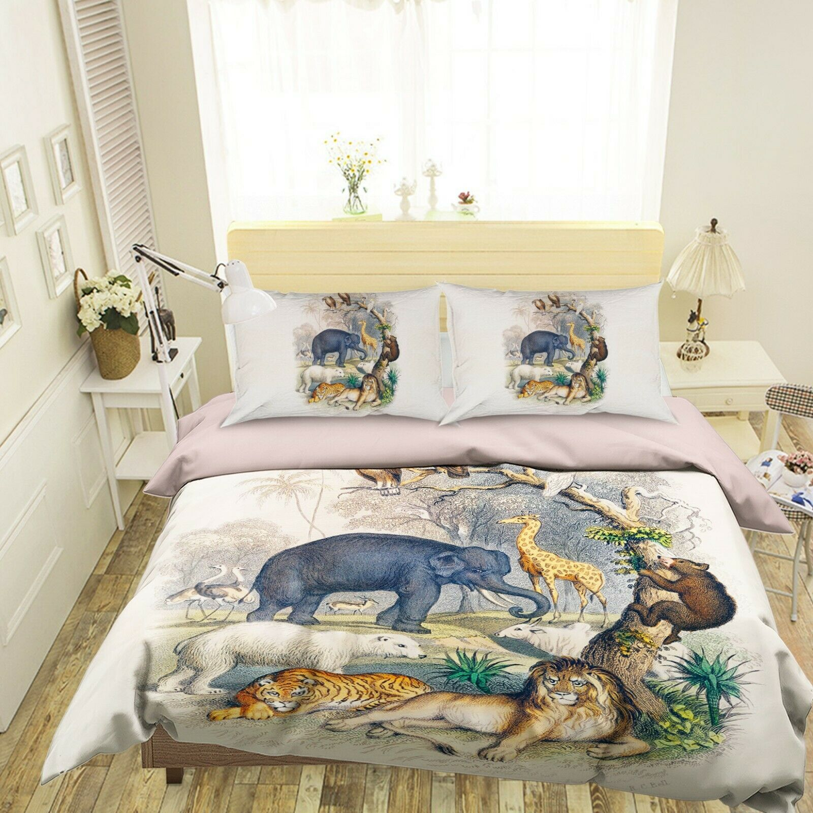 3D Zoo Lion N49 Animal Bed Pillowcases Quilt Duvet Cover Queen King Amy