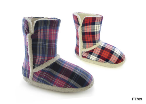 Ladies Girls Knitted cool tartan Fleece Boot Slippers Size 3//4 5//6 7//8 ers