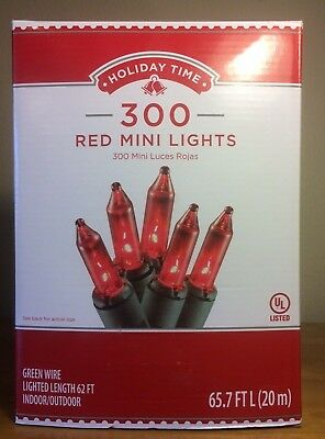 300 Red Mini Christmas Wedding Lights Indoor Outdoor 65.7 FT-White Wire-NEW