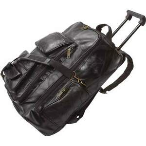 Black Leather Rolling Suitcase Bag, Mens Carry-On Backpack Trolley ...