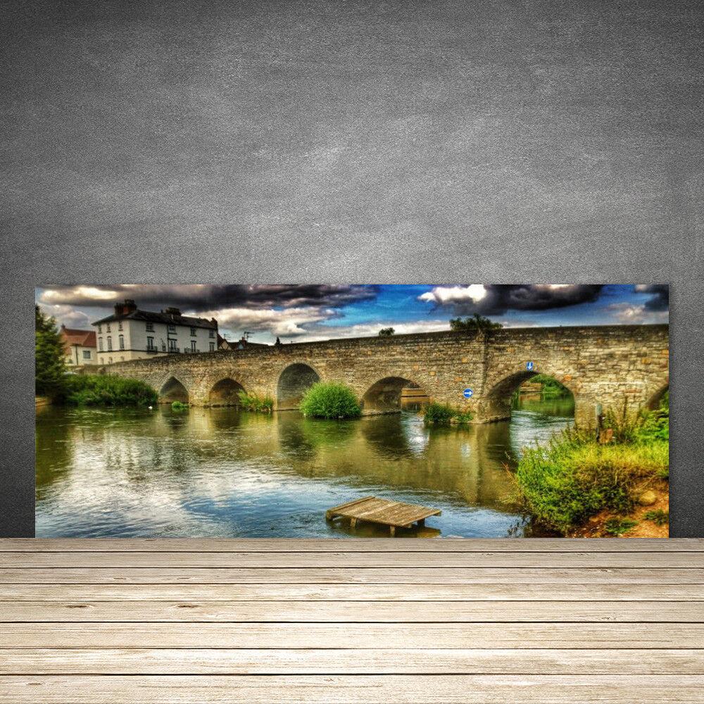 crédence de cuisine en lac verre panneau 125x50 architecture pont